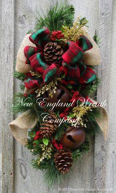 Stockbridge Holiday Swag with Sleigh Bells  ~A New England Wreath Company Designer Original~
