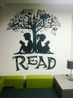 Library mural Library Wall, Library Design, Class Decoration, School Decorations, School Murals, Art School, Mural Art, Wall Murals, Library Book Displays