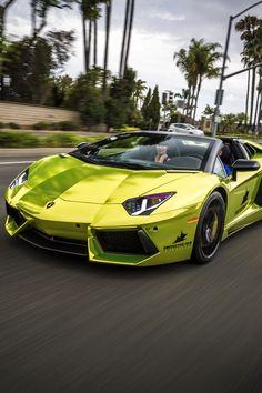 Green Chrome Wrapped Aventador