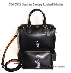 COACH X Peanuts SNOOPY Ltd. Mini Bennett Black Satchel Bag & Cosmetic Case NWT  #Coach #SatchelCrossBodyShoulderbag