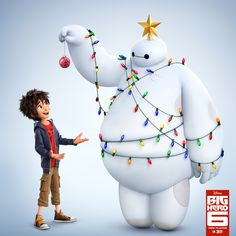Hero and Baymax - Happy Holidays! [For more pics, facts, secrets, news, fan art and more, please visit my Disney blog:  http://grown-up-disney-kid.tumblr.com/ ]