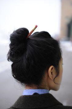 Pencil in bun!