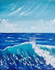 Easy how to paint a more realistic wave for beginning Artist step by step on canvas By the Art Sherpa for Youtube Free video art lesson. www.theartsherpa.com