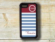 Pi Beta Phi phone case, fits iPhone 4/4s/5/5s - Blue and maroon stripes - monogram Greek gift  Phone case, big little sorority gift (1126) on Etsy, $19.99
