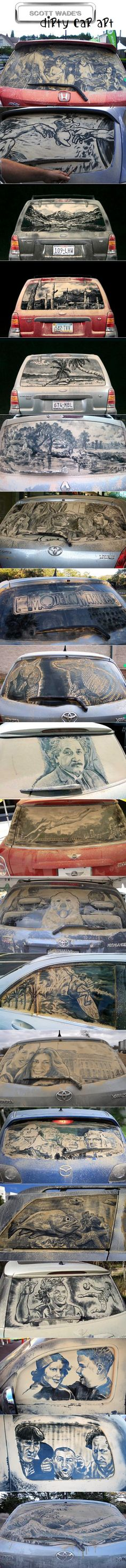 "Check out these really cool ""Dirty Car Art"" pictures.to wash my car, or NOT to wash my car.that is the question! Performance Artistique, Street Art, Wow Art, Psychedelic Art, Oeuvre D'art, Art Pictures, Amazing Art, Awesome, Art Drawings"