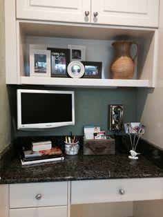 Former drop zone transformed into pretty kitchen desk area.