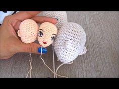 DIY-How to crochet a amigurumi doll head-LEFT HANDED VERSION- móc búp bê...