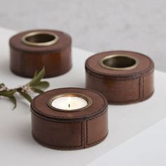 Classical Leather Tea Light Holder - candles & home fragrance