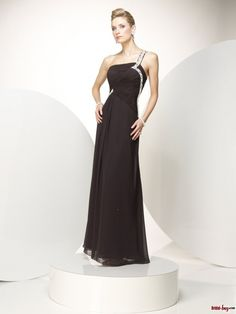 Buy Custom Made High Quality 2012 Spring Style Black Princess Floor-length One-shoulder Chiffon Prom Dresses With Ruched Bodice WPBD-7120 at wholesale cheap prices from Bridal-Buy.com