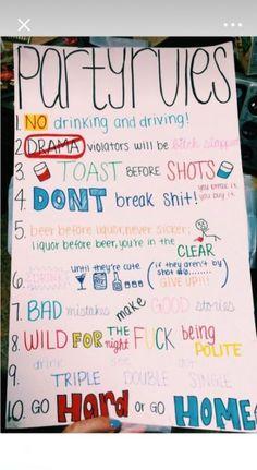 party games adult 66 ideas for 2019 - Lo Que Necesitas Saber Para La Fiesta 21 Party, Party Rules, Glow Party, Dinner Party Games, Teen Party Games, College Party Games, Teen Parties, Drunk Games, Alcohol Games