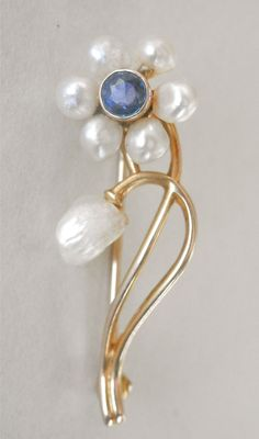 Exquisite 14K Art Nouveau Mississippi River Pearl Sapphire Pin from amanra on Ruby Lane