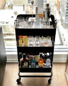 Bar ikea in 2020 Ikea Bar Cart, Diy Bar Cart, Gold Bar Cart, Bar Cart Decor, Bar Ikea, Ikea Raskog Cart, Canto Bar, Small Bars For Home, Home Bar Decor