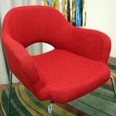 @Overstock.com - Get a huge pop of style along with your extra seating with this red modern armchair. Featuring classic mid-century modern design and constructed of wood and steel, this armchair boasts bright red twill upholstery and gleaming chrome.