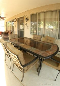 This is a stunning stone patio table for any outdoor space!