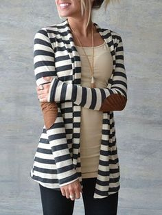 Cute for fall! Striped cardigan with elbow patches