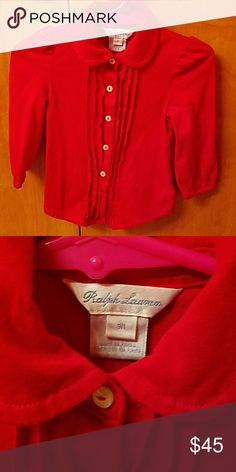 Baby top This is also a gorgeous top in red for a 9m baby girl.. also used once.. Ralph Lauren Shirts & Tops Button Down Shirts
