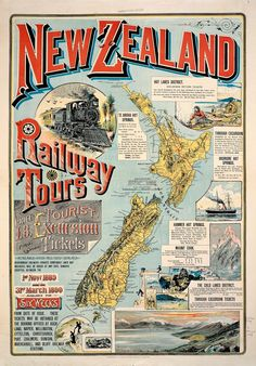 Vintage New Zealand Railway Tours Map Map Of New Zealand, New Zealand Travel, Auckland, Map Shop, A4 Poster, Poster Wall, Railway Posters, Kiwiana, Pinterest Photos