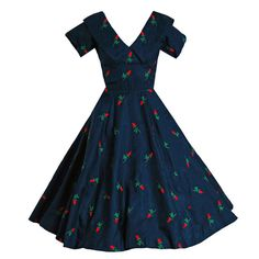 1950's Embroidered Roses Navy-Blue Silk Shelf-Bust Full Circle-Skirt Party Dress | From a collection of rare vintage evening dresses at https://www.1stdibs.com/fashion/clothing/evening-dresses/