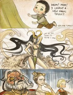 Type: Fan Art,  Anime(s)/Show(s): Marvel,  Character(s): Panel by panel then Right to Left: Loki, Female! Loki, Thor, Frigga, Odin, Comment: So pretty in any form.