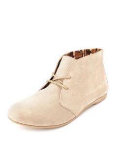 sueded lace-up ankle bootie. Love the color