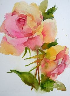 laura's watercolors: fading away roses