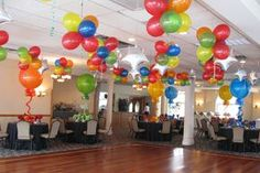 Colorful Balloon Clusters Hanging from Ceiling