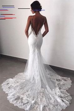 Buy Sexy Mermaid Spaghetti Straps Wedding Dresses Lace Appliques Wedding Gowns w. - Buy Sexy Mermaid Spaghetti Straps Wedding Dresses Lace Appliques Wedding Gowns with Tulle Online – SisaStore Source by annakrieten - Boho Wedding Dress With Sleeves, Spaghetti Strap Wedding Dress, Backless Lace Wedding Dress, Lace Mermaid Wedding Dress, Wedding Dress Trends, Country Wedding Dresses, Black Wedding Dresses, Mermaid Dresses, Bridal Dresses