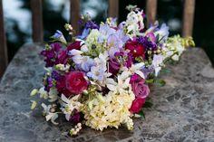 Fuschia, lavender, orchid cascade bouquet www.flowersandstuff.com