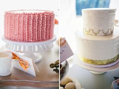 pink ruffle and gold antler wedding cakes | photo: spencer-combs.com and geneoh.com