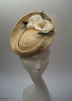 straw 40s style Tilt Hat with Veiling & vintage flowers