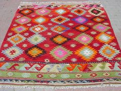 VINTAGE Turkish Kilim Rug Carpet Handwoven Kelim by sofART on Etsy, $449.00