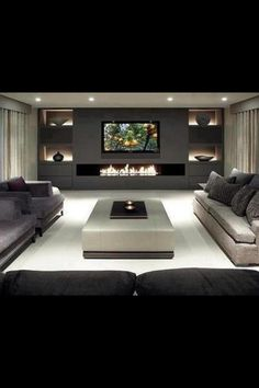 Ultra contemporary livingroom with grey and beige