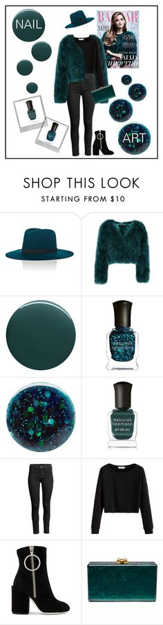"""""""Dark Green - Nail Art"""" by summer913 ❤ liked on Polyvore featuring beauty, Janessa Leone, Deborah Lippmann, Polaroid, Off-White and Edie Parker"""