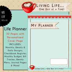 US Letter LIFE PLANNER Calendar & Planner inserts, 32 pages of monthly, weekly & daily pages, monthly budge, bill tracker, checkbook register, weekly menu and notes/journal pages. Get the cover Personalized for Free! from myunclutteredlife