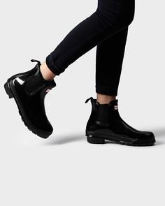 Nice Womens Hunter Original Black Heel Chelsea Gloss Waterproof Ankle Boots