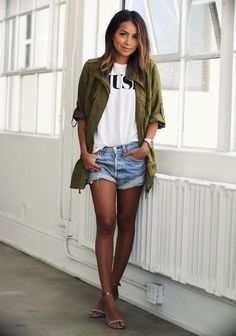 Cute casual. Olive parka, white tee, slouchy denim cutoffs