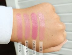 MAC Lipstick Swatches from left to right: Angel, Creme Cup, Lovelorn and Hue