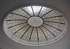 Leaded glass ceiling dome skylight
