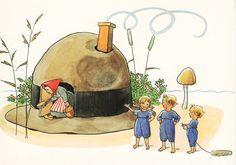 "From ""Hatt-Stugan"" by Elsa Beskow Elsa Beskow, Fairytale Art, Woodland Creatures, Children's Book Illustration, Faeries, Elves, Childrens Books, Fairy Tales, Images"