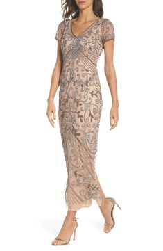 Beaded Mesh Column Gown   Nordstrom The Pretty Dress Company, Secret In Lace, Pinup Girl Clothing, Gothic Clothing, Lady Jane, Models, Tulle Dress, Caftan Dress, Lace Dress