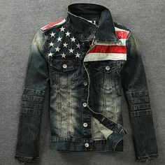 Juice Action Men's Slim Fit Motorcycle American Flag Denim Jacket Outwear at Amazon Men's Clothing store: