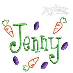 Easter Embroidery Design Pack. Carrots and Jelly Beans. *Font #98 Not included* Many sizes