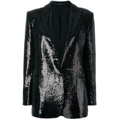 Tagliatore sequin embellished blazer ($639) ❤ liked on Polyvore featuring outerwear, jackets, blazers, black, tagliatore, sequin blazer jacket, sequin blazer, blazer jacket and sequin jacket