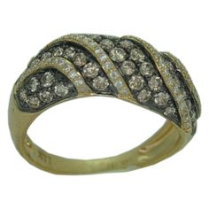 """14 karat white gold 1.06cttw diamond ring. The combination of cognac and white diamonds give the ring a """"safari"""" look."""