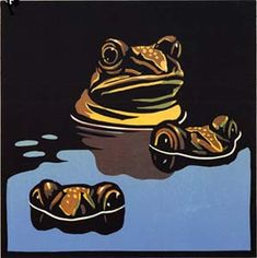 6 Frogs Eyes (Teeth, Tails and Tentacles) - Linocut by Chris Wormell