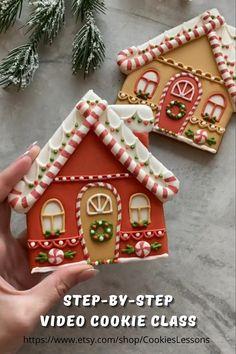 Christmas Sugar Cookies, Christmas Snacks, Christmas Goodies, Holiday Cookies, Christmas Baking, Christmas Decorations, Gingerbread Cookies, Decorated Christmas Cookies, House Decorations