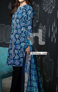 Blue Cambric Suit | Buy Sawan By Nishat Pakistani Dresses and Clothing online in USA, UK