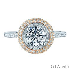 """Adding side stones to your round diamond engagement ring lets you add sparkle and customize the ring to reflect your personality! A pavé setting creates the appearance that the ring has been """"paved"""" with diamonds. Learn more about different side stone setting options. Courtesy: 1stdibs"""
