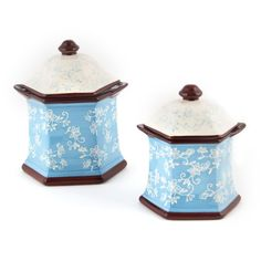 temp-tations® by Tara: temp-tations® Floral Lace Set of 2 Canisters - I'd choose black to match my pieces.