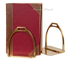Stirrup Bookends. Solid brass bookends the actual size of stirrups. Great equestrian look for the home or office.